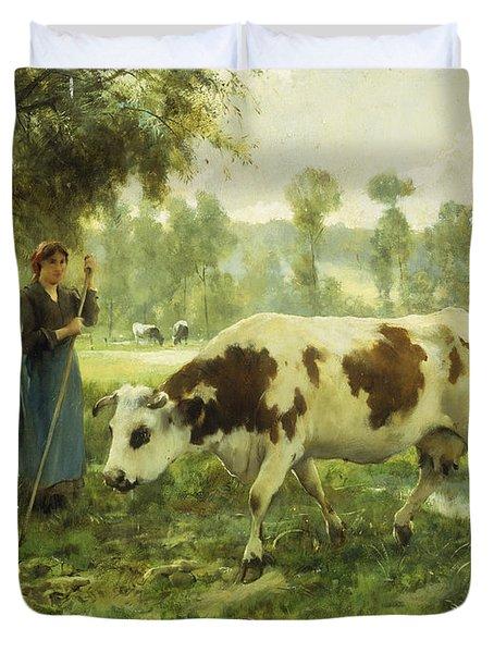 Cows At Pasture  Duvet Cover by Julien Dupre