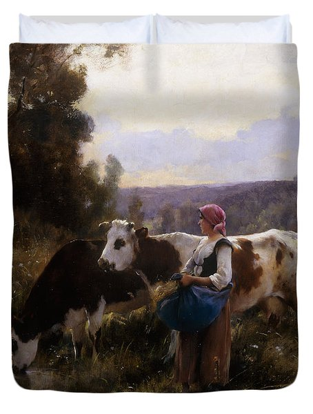 Cows At The Watering Hole Duvet Cover by Julien Dupre