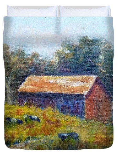 Cows By The Barn Duvet Cover