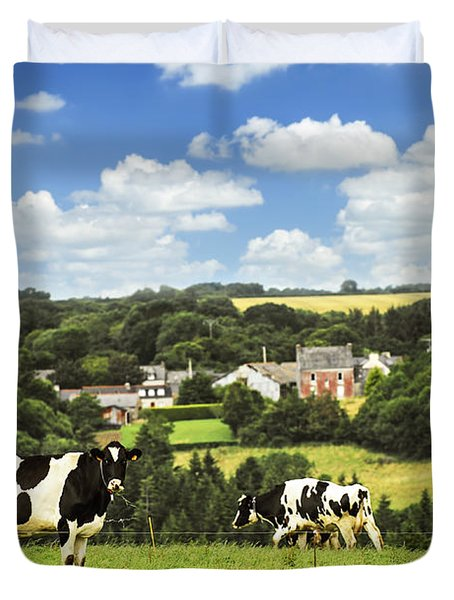 Cows In A Pasture In Brittany Duvet Cover