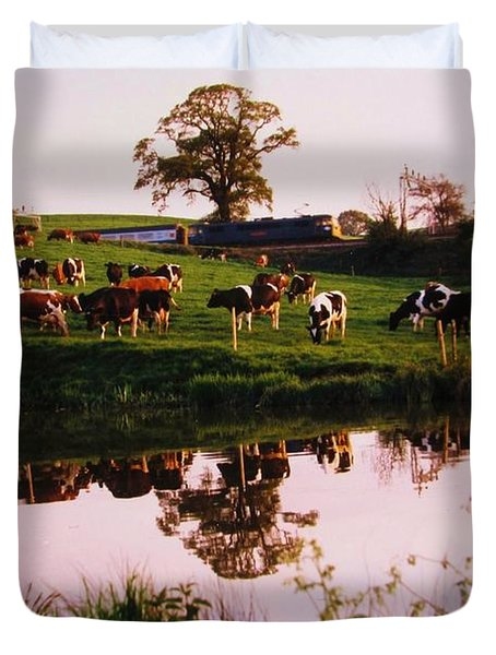 Cows In The Canal Duvet Cover