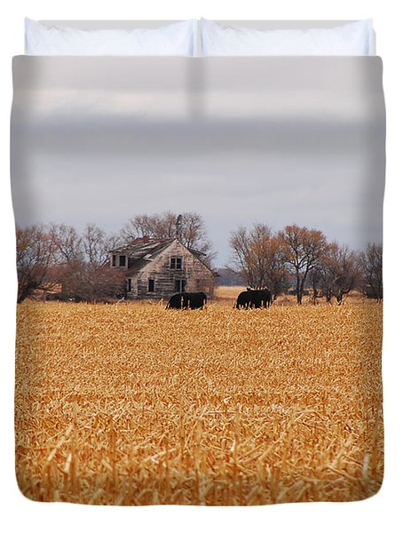 Cows In The Corn Duvet Cover by Mary Carol Story