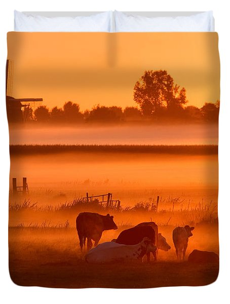 Cows In The Mist Duvet Cover