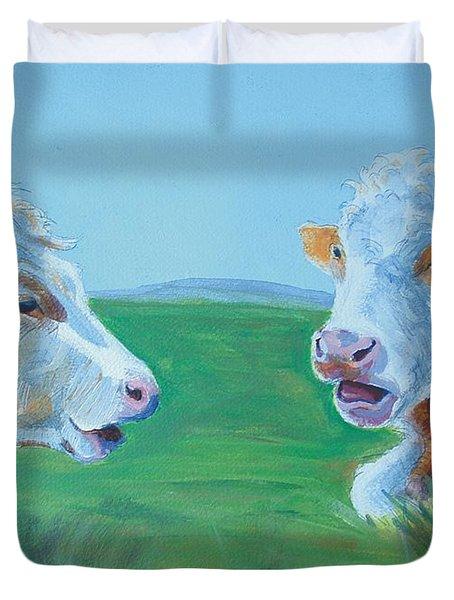 Cows Lying Down Chatting Duvet Cover