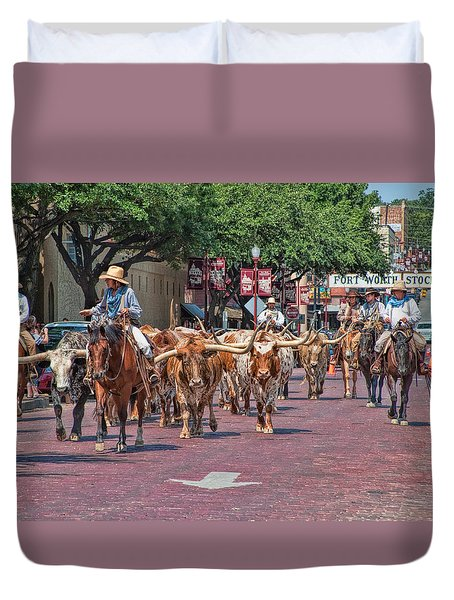 Cowtown Cattle Drive Duvet Cover