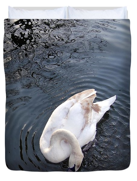 Coy Swan Duvet Cover by Linda Prewer