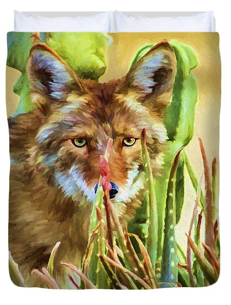 Coyote In The Aloe Duvet Cover