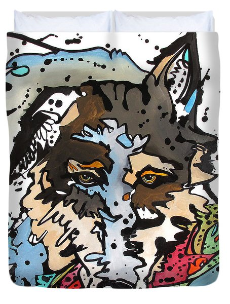 Duvet Cover featuring the painting Coyote  by Nicole Gaitan
