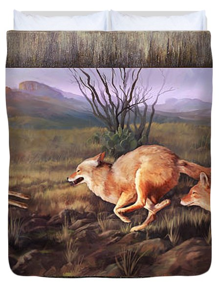 Duvet Cover featuring the painting Coyote Run With Boarder by Rob Corsetti