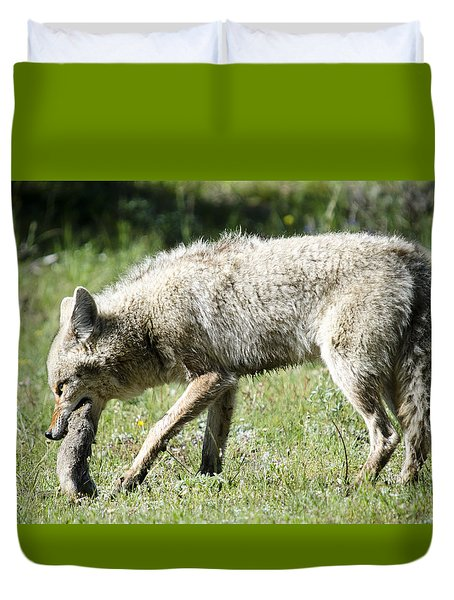 Coyote With Squirrel Duvet Cover