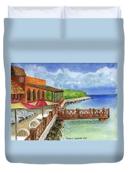 Cozumel Mexico Little Pier Duvet Cover by Frank Hunter