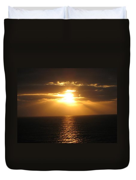 Cozumel Mexico Sunset Duvet Cover by Jean Marie Maggi