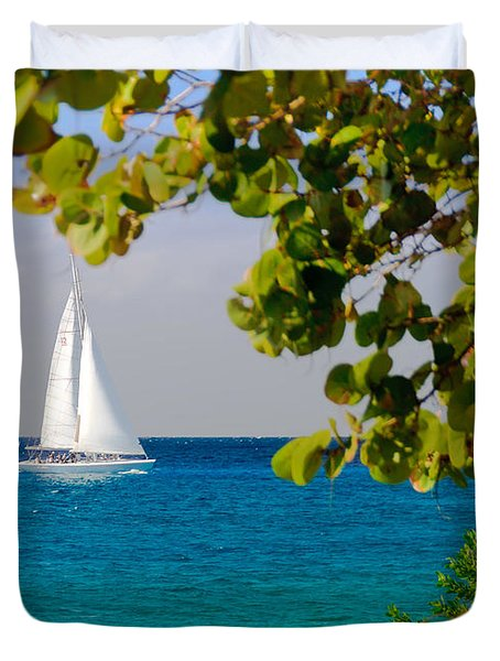 Cozumel Sailboat Duvet Cover by Mitchell R Grosky