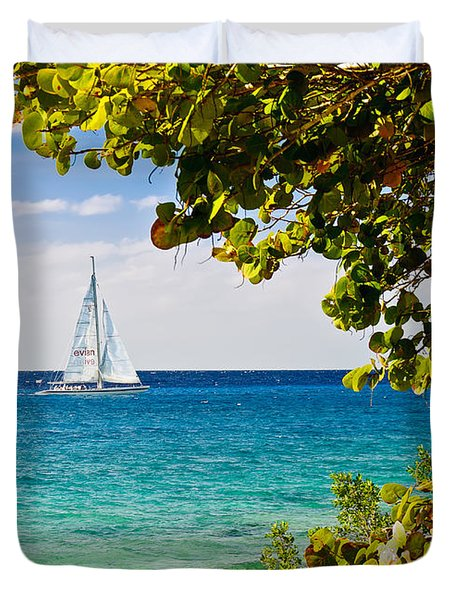 Duvet Cover featuring the photograph Cozumel Sailboats by Mitchell R Grosky