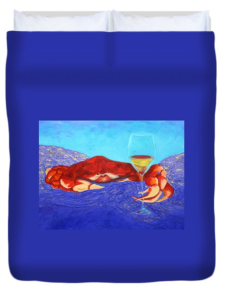 Crab And Chardonnay Duvet Cover