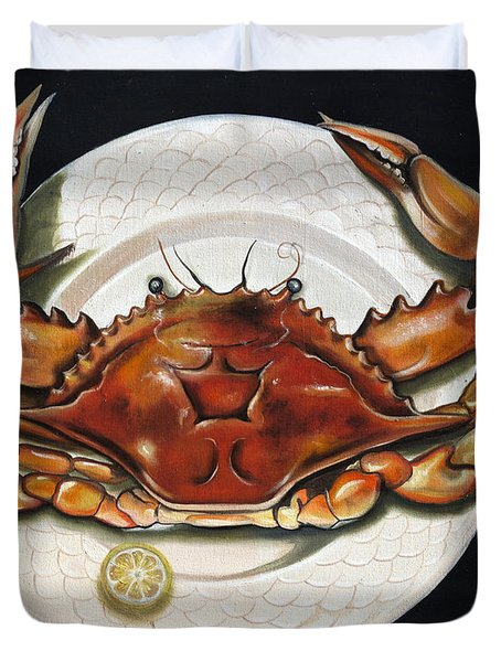 Crab  On Plate Duvet Cover by Phyllis Beiser