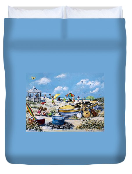 Crab Pickin Duvet Cover by Gail Butler