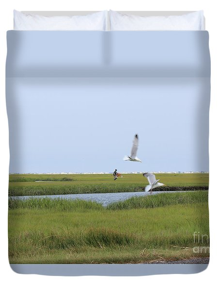 Duvet Cover featuring the photograph Crabber by David Jackson