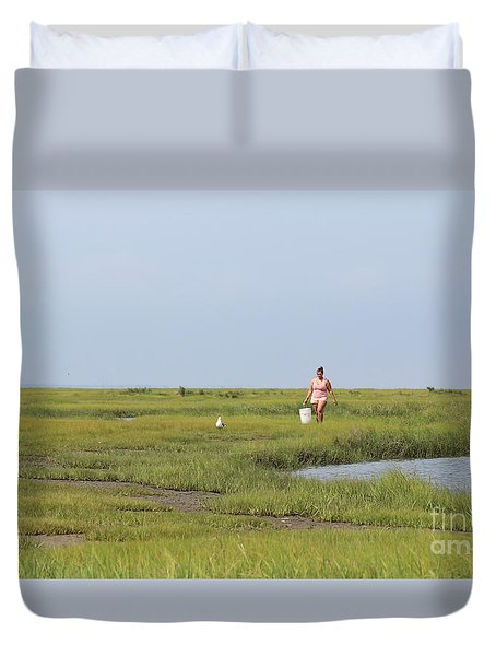 Duvet Cover featuring the photograph Crabbing At Mystic Island by David Jackson