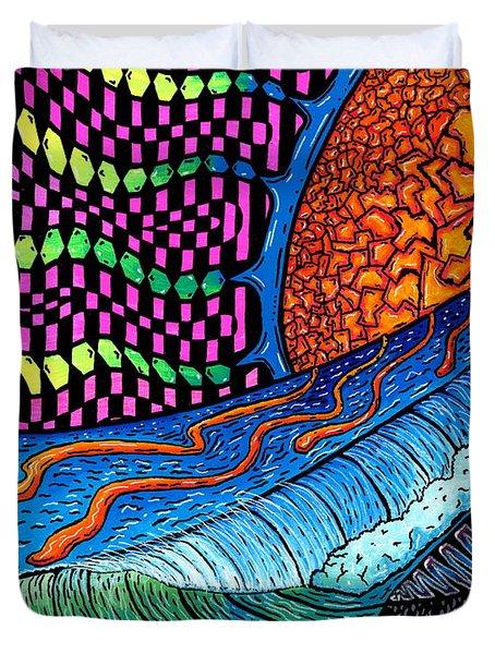 Crackle Sun Duvet Cover by Sam Bernal