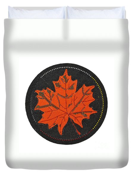 Cradleboard Beadwork Fall Maple Leaf Duvet Cover
