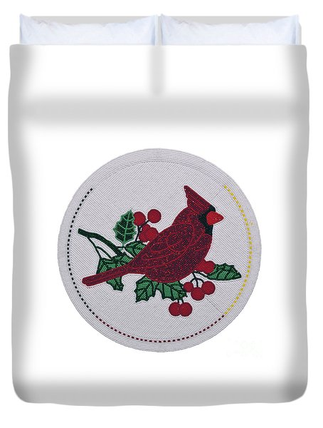 Cradleboard Beadwork Winter Cardinal Duvet Cover