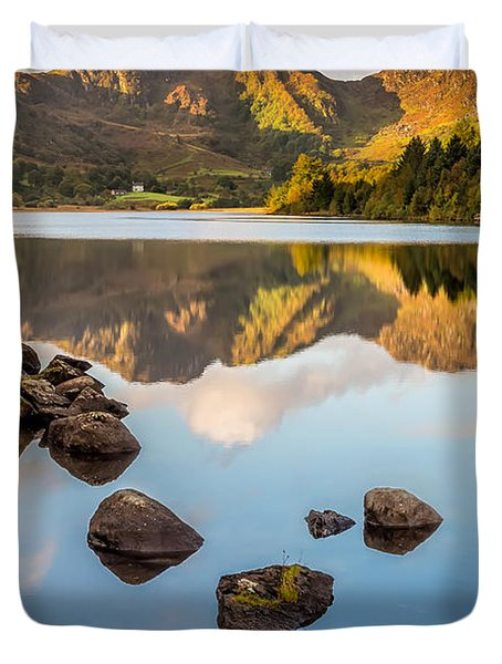 Crafnant Rocks Duvet Cover by Adrian Evans