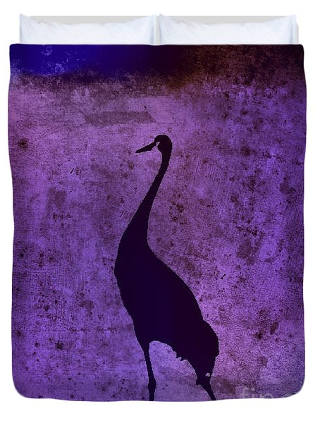 Crane In Vintage Plum Duvet Cover by Anita Lewis