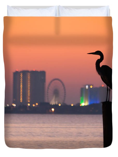Crane On A Pier Duvet Cover