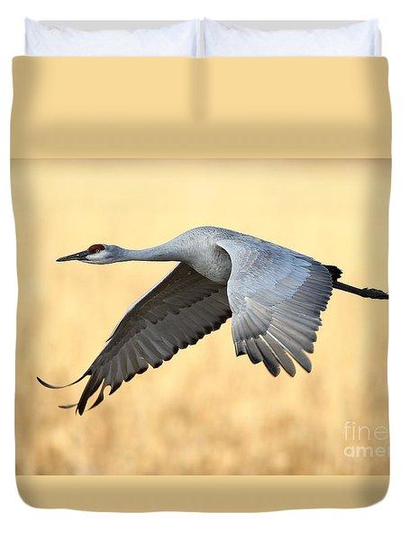 Crane Over Golden Field Duvet Cover
