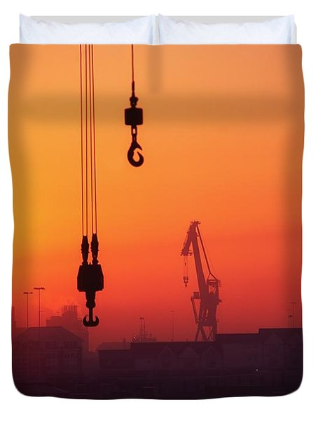 Cranes At Sunset Duvet Cover by The Irish Image Collection