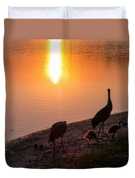 Cranes At Sunset Duvet Cover