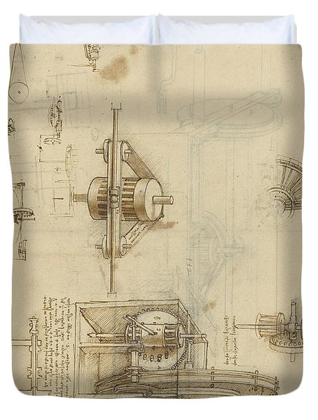 Crank Spinning Machine With Several Details Duvet Cover