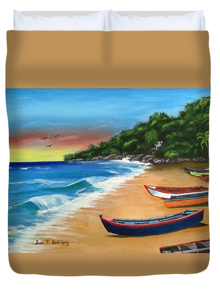 Crashboat Beach Wonder Duvet Cover by Luis F Rodriguez