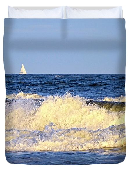Crashing Waves And White Sails Duvet Cover