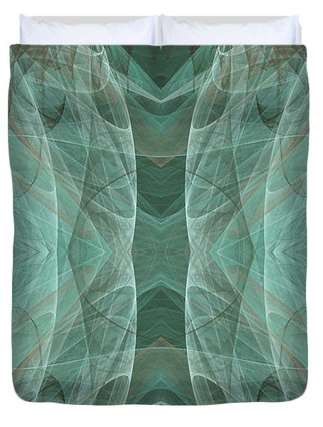 Crashing Waves Of Green 3 - Abstract - Fractal Art Duvet Cover by Andee Design