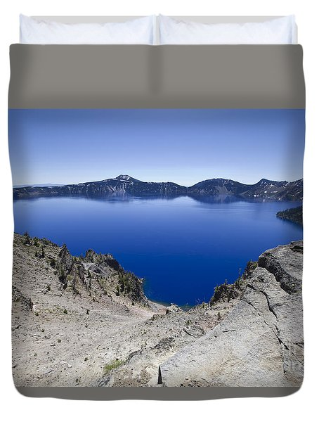 Duvet Cover featuring the photograph Crater Lake by David Millenheft