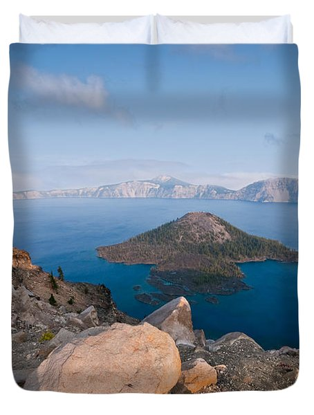 Crater Lake In The Evening Duvet Cover