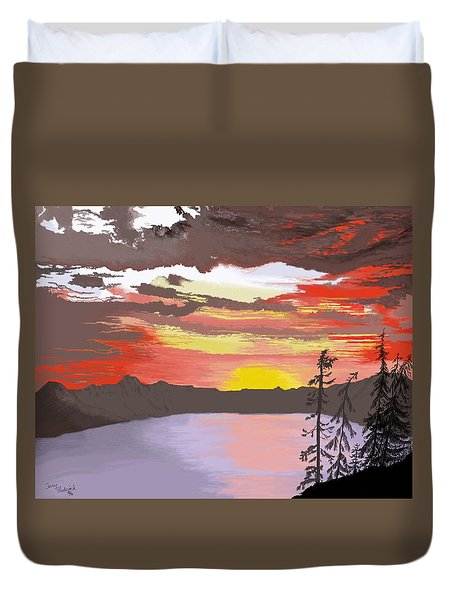 Crater Lake Duvet Cover by Terry Frederick