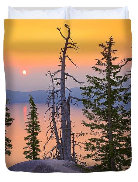 Crater Lake Trees Duvet Cover by Inge Johnsson
