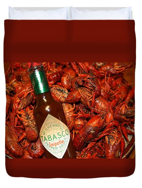 Crawfish And Tabasco Duvet Cover by Donna G Smith