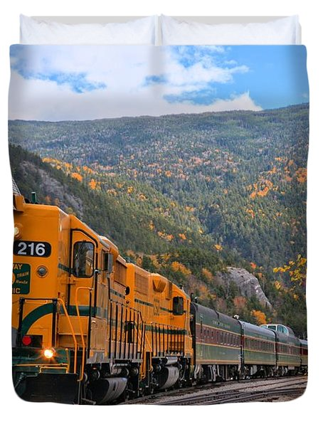 Crawford Notch Train Depot Duvet Cover by Adam Jewell