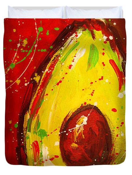 Crazy Avocados Triptych  Duvet Cover