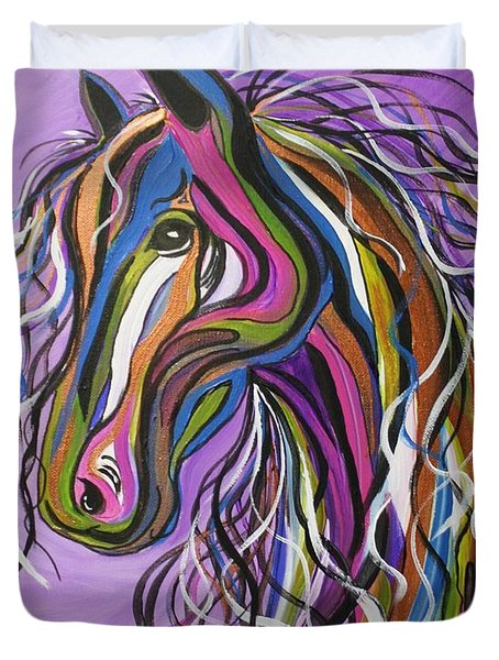 Duvet Cover featuring the painting Crazy Horse by Janice Rae Pariza