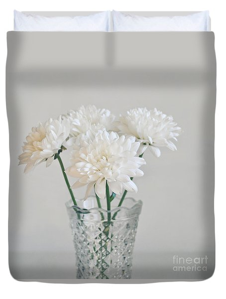 Creamy White Flowers In Tall Vase Duvet Cover by Lyn Randle