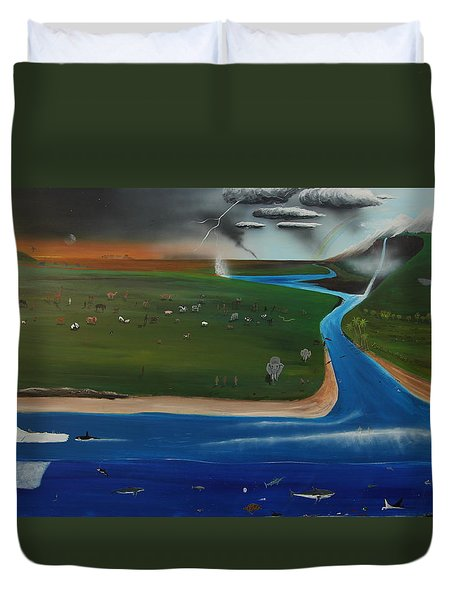 Creation And Evolution - Painting 1 Of 2 Duvet Cover by Tim Mullaney
