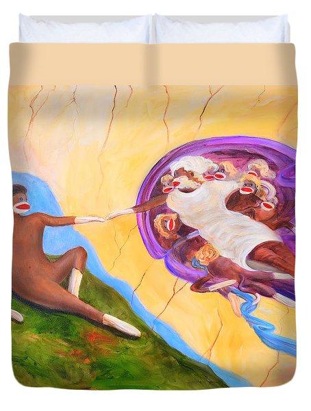 Creation Of A Sock Monkey Duvet Cover by Randy Burns