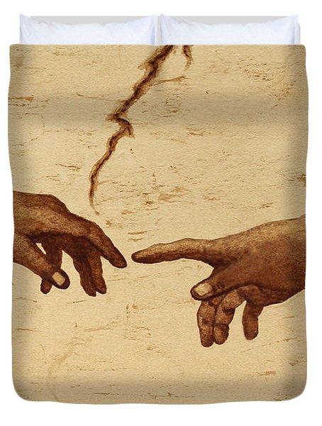 Creation Of Adam Hands A Study Coffee Painting Duvet Cover by Georgeta  Blanaru