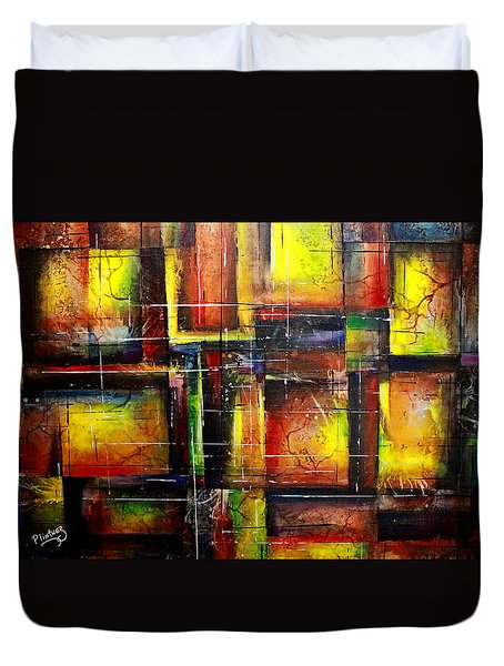 Duvet Cover featuring the painting Creation by Patricia Lintner