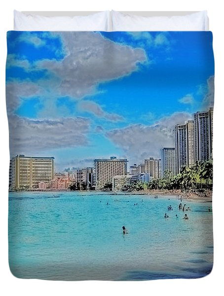Duvet Cover featuring the photograph Creative Waikiki by Caroline Stella